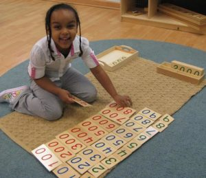 Montessori student counting