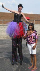 stilt walker with miss angela